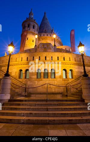 Turrets of Fishermen's Bastion (Halaszbastya) at night, Buda, Budapest, Hungary, Europe - Stock Photo