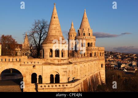 Turrets of Fishermen's Bastion (Halaszbastya), Buda, Budapest, Hungary, Europe - Stock Photo