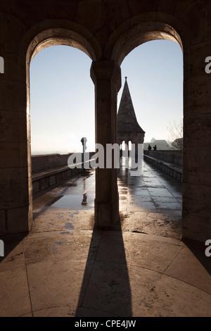 Walls and turret of Fishermen's Bastion (Halaszbastya), Buda, Budapest, Hungary, Europe - Stock Photo