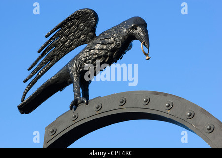 Raven motif derived from Coat of Arms of Matthias Corvinus, Royal Palace (Buda Castle), Budapest, Hungary, Europe - Stock Photo