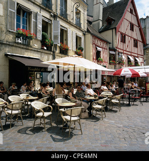 Cafes in Place Francois Rude, Dijon, Burgundy, France, Europe - Stock Photo