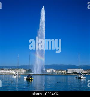 Jet d'eau (water jet), Geneva, Lake Geneva (Lac Leman), Switzerland, Europe - Stock Photo