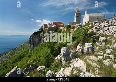 View of hill top village, Lubenice, Cres Island, Kvarner Gulf, Croatia, Adriatic, Europe - Stock Photo