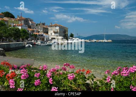 View over fishing village, Valun, Cres Island, Kvarner Gulf, Croatia, Adriatic, Europe - Stock Photo