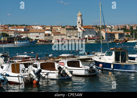 View over harbour and town, Krk Town, Krk Island, Kvarner Gulf, Croatia, Adriatic, Europe - Stock Photo