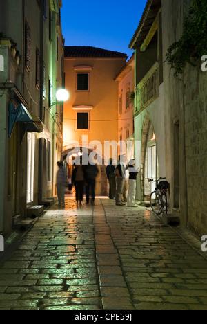 Cobbled street in old town, Rab Town, Rab Island, Kvarner Gulf, Croatia, Europe - Stock Photo