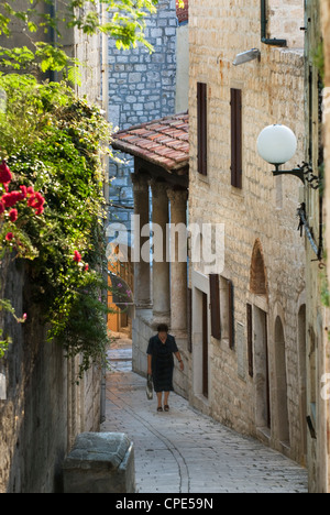 Narrow street in old town, Rab Town, Rab Island, Kvarner Gulf, Croatia, Europe - Stock Photo