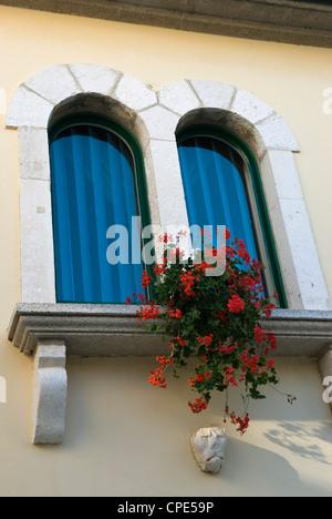 Window in old town, Rab Town, Rab Island, Kvarner Gulf, Croatia, Europe - Stock Photo