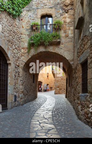 Street scene in old town, Pals, Costa Brava, Catalonia, Spain, Europe - Stock Photo