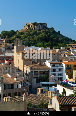 Ruined castle above old town, Begur, Costa Brava, Catalonia, Spain, Europe - Stock Photo
