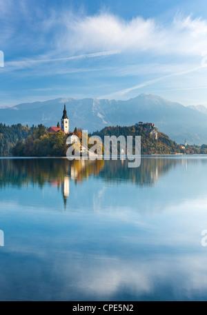 Blejski Otok Island on Lake Bled in autumn, Bled, Gorenjska, Slovenia, Europe - Stock Photo