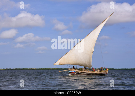 A traditional dhow boat sailing off the coast of Lamu, Kenya, East Africa, Africa - Stock Photo