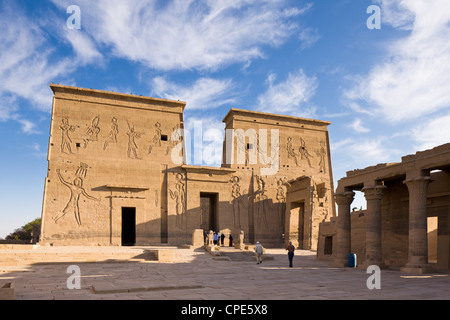 The first pylon and the Gate of Ptolemy at the Temple of Isis, Philae, UNESCO World Heritage Site, Nubia, Egypt, - Stock Photo