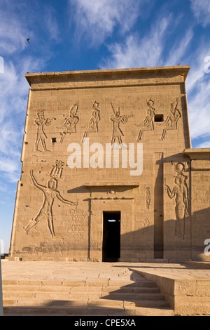 The first pylon at the Temple of Isis, Philae, UNESCO World Heritage Site, Nubia, Egypt, North Africa, Africa - Stock Photo