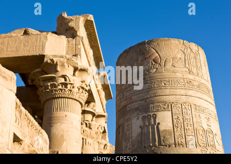 Painted pillar and Pronaos at the Temple of Sobek and Haroeris, Kom Ombo, Egypt, North Africa, Africa - Stock Photo