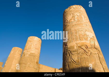 Painted pillars at the Temple of Sobek and Haroeris, Kom Ombo, Egypt, North Africa, Africa - Stock Photo
