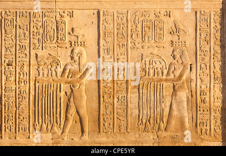 Relief at the twin Temple of Sobek and Haroeris, Kom Ombo, Egypt, North Africa, Africa - Stock Photo