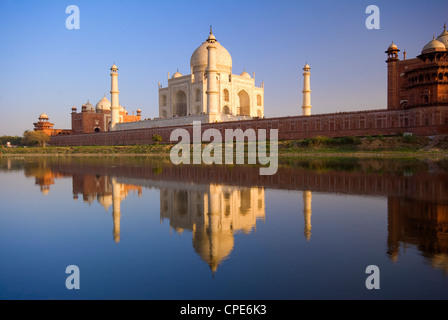 Taj Mahal, UNESCO World Heritage Site, reflected in the Yamuna River, Agra, Uttar Pradesh, India, Asia - Stock Photo