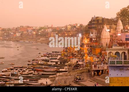 Man Mandir Ghat, Varanasi, Uttar Pradesh, India, Asia - Stock Photo
