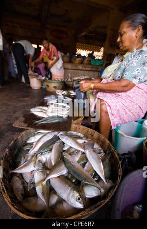 Woman selling fish, Mapusa Market, Goa, India, Asia - Stock Photo