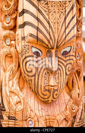 Maori carvings, Whakarewarewa Thermal Reserve, North Island, New Zealand, Pacific - Stock Photo