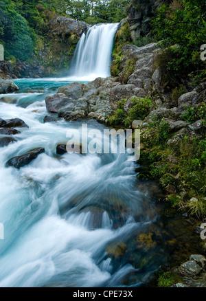 Tawhai Falls, Tongariro National Park, UNESCO World Heritage Site, North Island, New Zealand, Pacific - Stock Photo