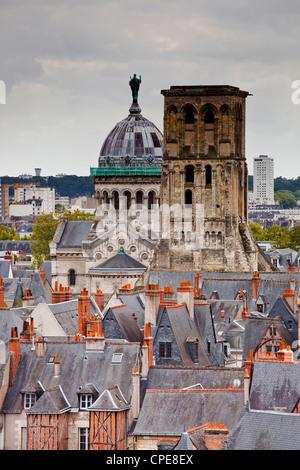 Tour Charlemagne and the Basilique St. Martin, Indre-et-Loire, Loire Valley, Centre, France - Stock Photo