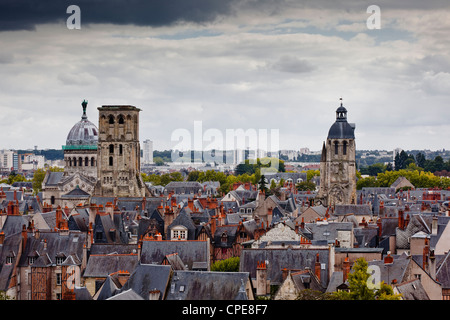 Looking across to Tour Charlemagne and the Basilique of St. Martin, Tours, Indre-et-Loire, Loire Valley, Centre, - Stock Photo