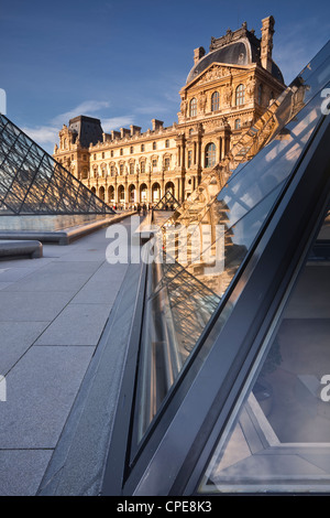 The Pyramid at the Louvre Museum, Paris, France, Europe - Stock Photo