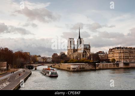 Notre Dame cathedral on the Ile de la Cite, Paris, France, Europe - Stock Photo
