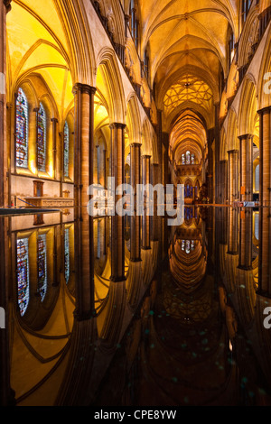 Looking across the font of Salisbury cathedral, Wiltshire, England, United Kingdom, Europe - Stock Photo