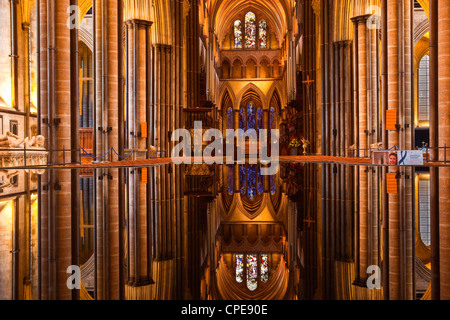 The beautiful nave and font of Salisbury cathedral, Wiltshire, England, United Kingdom, Europe - Stock Photo