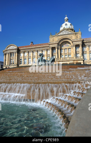 Fountain known as the Floozy in the Jacuzzi and the Council House, Victoria Square, Birmingham, West Midlands, England, - Stock Photo