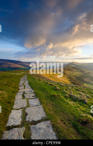 The Great Ridge pathway, Mam Tor, Hope Valley, Castleton, Peak District National Park, Derbyshire, England, United - Stock Photo