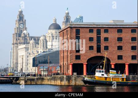 Royal Liver Building and Albert Docks, UNESCO World Heritage Site, Liverpool, Merseyside, England, United Kingdom, - Stock Photo