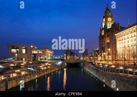 Royal Liver Building at dusk, Pier Head, UNESCO World Heritage Site, Liverpool, Merseyside, England, United Kingdom, - Stock Photo