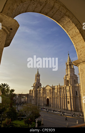Arequipa Cathedral at sunset on Plaza de Armas, Arequipa, UNESCO World Heritage Site, Peru, South America - Stock Photo
