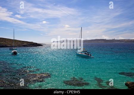 Blue Lagoon, Comino Island, Malta, Mediterranean, Europe - Stock Photo