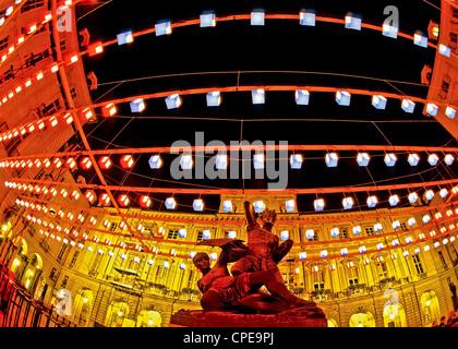 Europa Italy Piedmont  Turin Light of Artist  Piazza Palazzo di Città 'Tappeto Volante' By Daniel Buren - Stock Photo