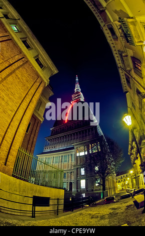 Europe Italy Piedmont Turin Mole Luci d'Artista ( Light of Artist )'Il Volo dei Numeri ' 'The Flight of Numbers' - Stock Photo