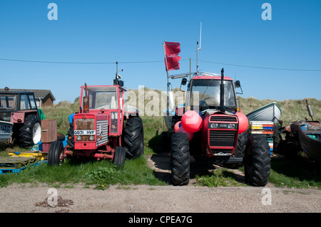 Fishermen's tractors and fishing equipment, Caister On Sea, Norfolk, England - Stock Photo