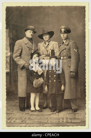 Postcard of family, probably German - the eldest son is in uniform, Luftwaffe, 1938, WWii) Germany - Stock Photo