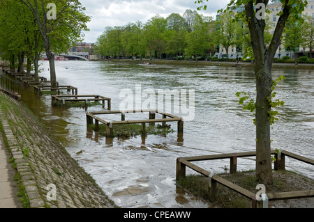River Ouse in flood York North Yorkshire England UK United Kingdom GB Great Britain - Stock Photo