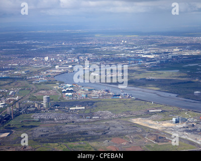 Teeside from the Air, North East England, May 2012 - Stock Photo