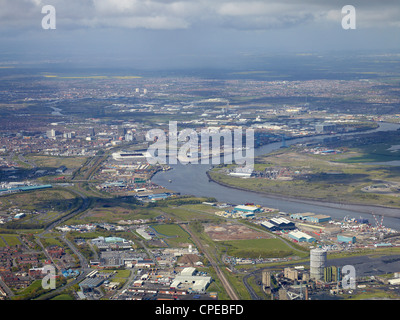 Middlesborough andTeeside from the Air, North East England, May 2012 - Stock Photo