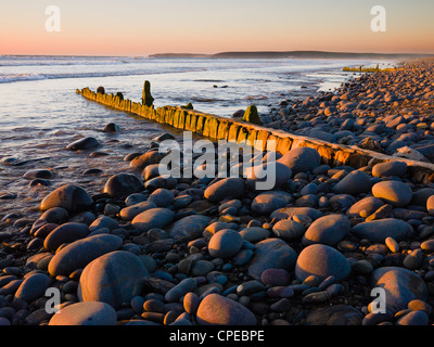 An old weathered groyne amongst the pebbles on Westward Ho! beach at sunset, Devon, England, United Kingdom. - Stock Photo