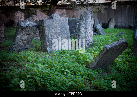 Gravestones in the old Jewish Cemetery. Prague, Czech Republic. - Stock Photo
