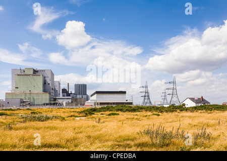 Dungeness nuclear power station, Romney Marsh, Kent, England, on a beautiful summer day. - Stock Photo