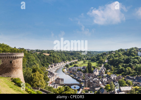 The picturesque medieval port of Dinan on the Rance Estuary, Brittany, France, seen from the walls of the fortified - Stock Photo