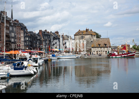 The Lieutenance at the Vieux Bassin (Old Dock), Honfeluer, Normandy, France - Stock Photo